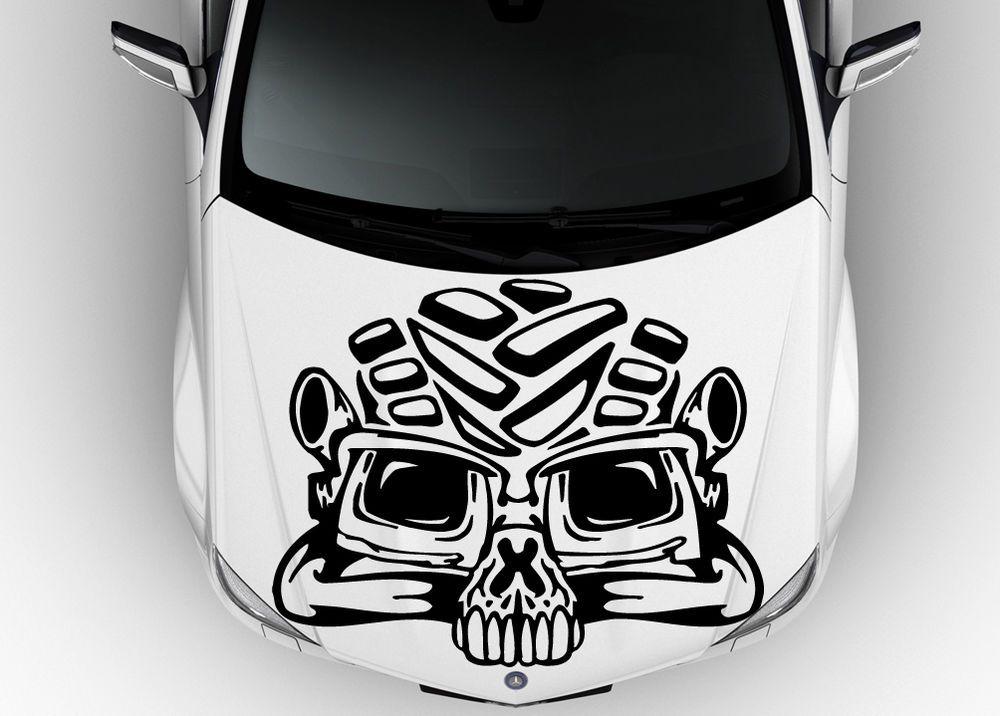 HOOD VINYL STICKER DECALS MURAL TRIBAL TATTOO CAR FLAMING SCULL HELMET M613