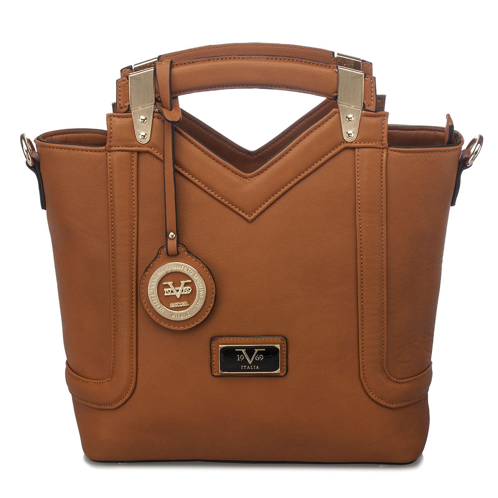 Versace 19 69 Abliamento Sportivo Structured Tote Brown Bnyhandbags