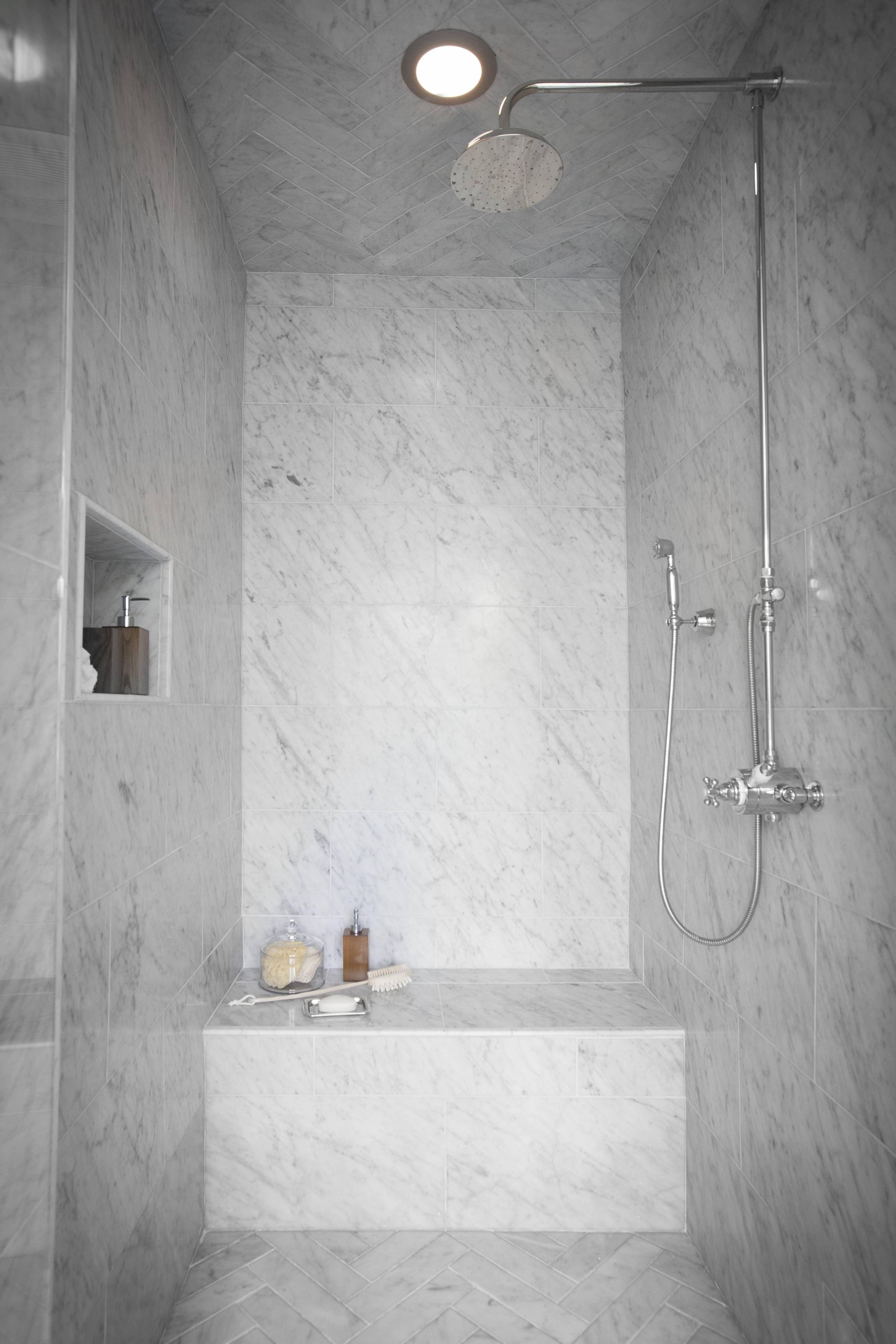 Santa Monica Master Bath Marble Shower Walls Shower Wall Tile Shower Ceilings