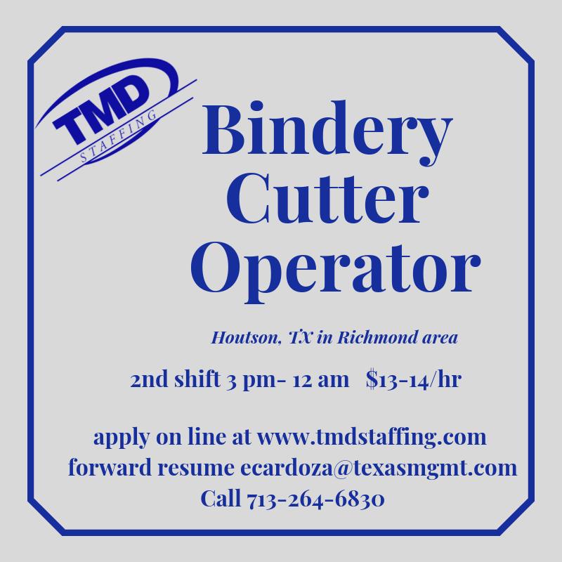 Seeking experienced Bindery Cutter Operator. Forward