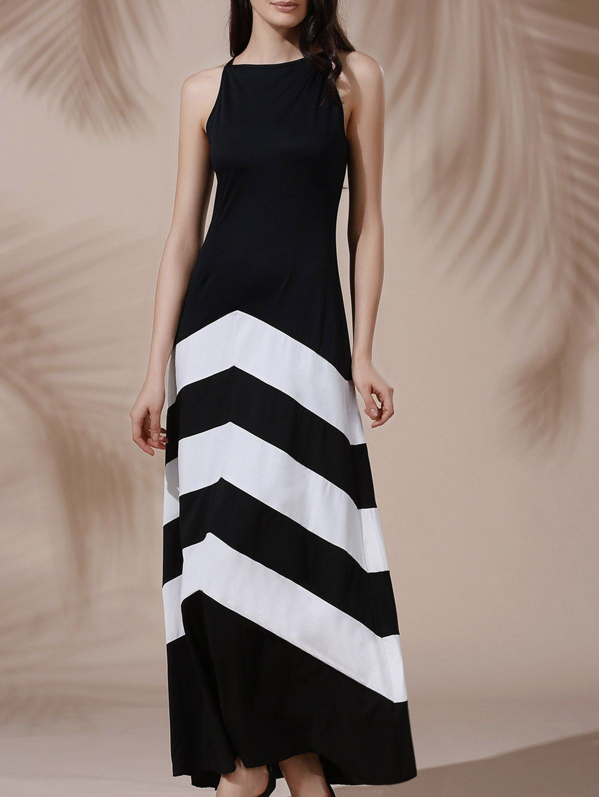 09eb5b3e050 Sexy Black and White Chevron Sleeveless Color Block Maxi Dress For Women   Black and White  Maxi Dresses  Summer Dresses
