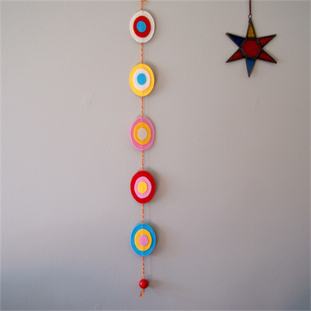 Rainbow Coloured Oval Felt Wall Hanging http://www.madeit.com.au/Main/Item?itemId=1081321