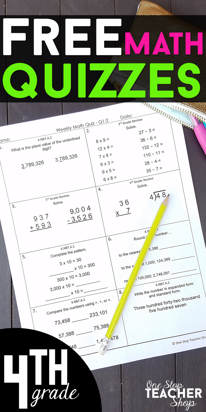 FREE 4th Grade Weekly Math Quizzes. These 4th Grade Math Quizzes are ...