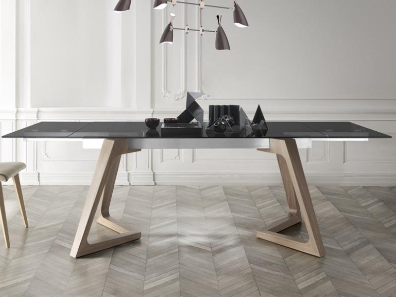 Mesa de comedor extensible con tapa de cristal templado, mod: NIL ...
