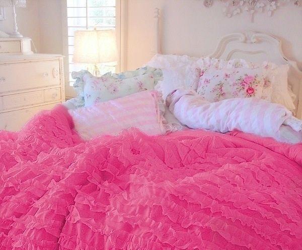 Lavender Ruffled Bedspreads Hot Pink Ruffled Comforter Set