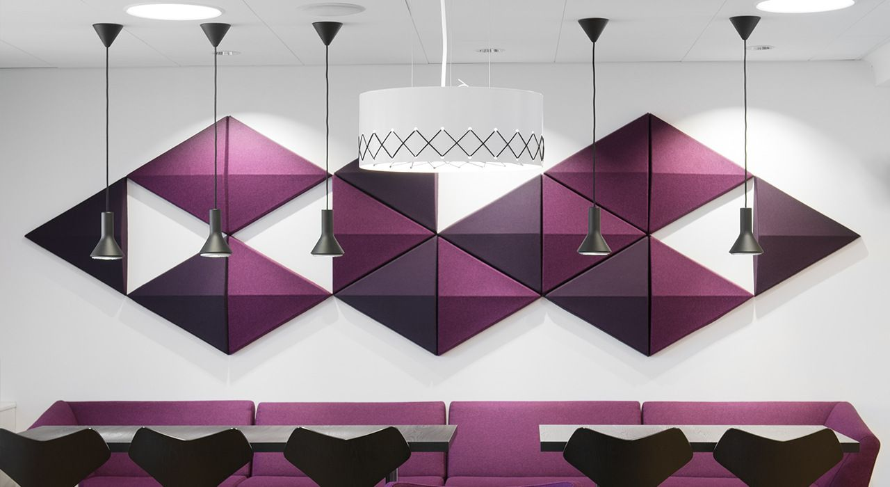 Installation Featuring Acoustic Tile Bits Wall Purple White Lighting Table Chairs Sound Absorbing Wool Creative Wall Art Wall Wall Design