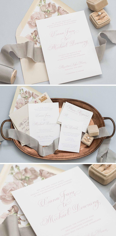 Floral Blush Wedding Invitation by Lavender & Love Creative. Pink ...