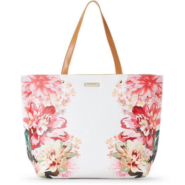 Tahari Whimsy Floral Print Tote ( 37) ❤ liked on Polyvore featuring bags