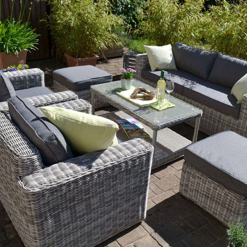 Exklusive Loungegruppe Provence Natur Sofa 2 Sessel 2 Hocker