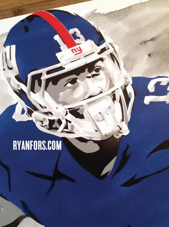 newest 201ea 8d280 Odell Beckham Jr. New York Giants Stencil Painting ...