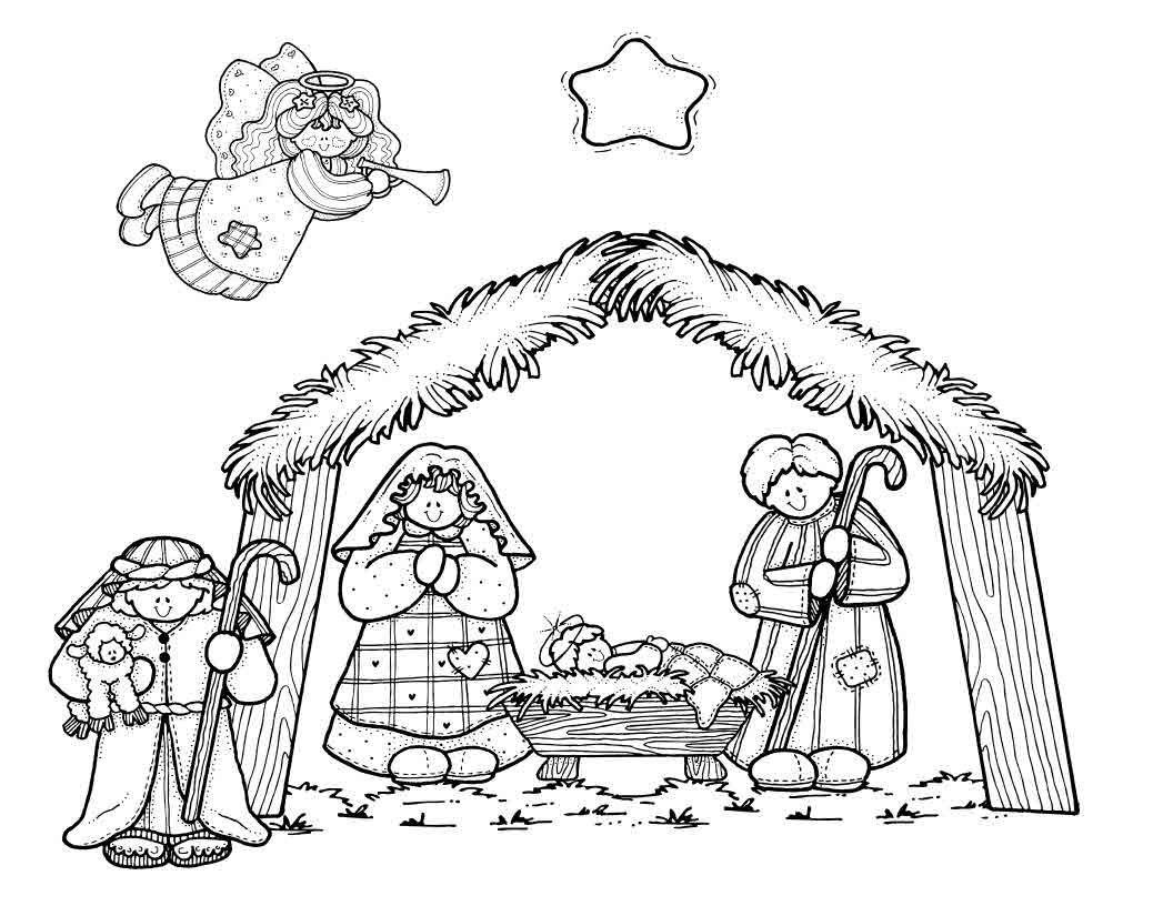 Nativity Scene Coloring Page for Preschoolers | Preschool nativity ...