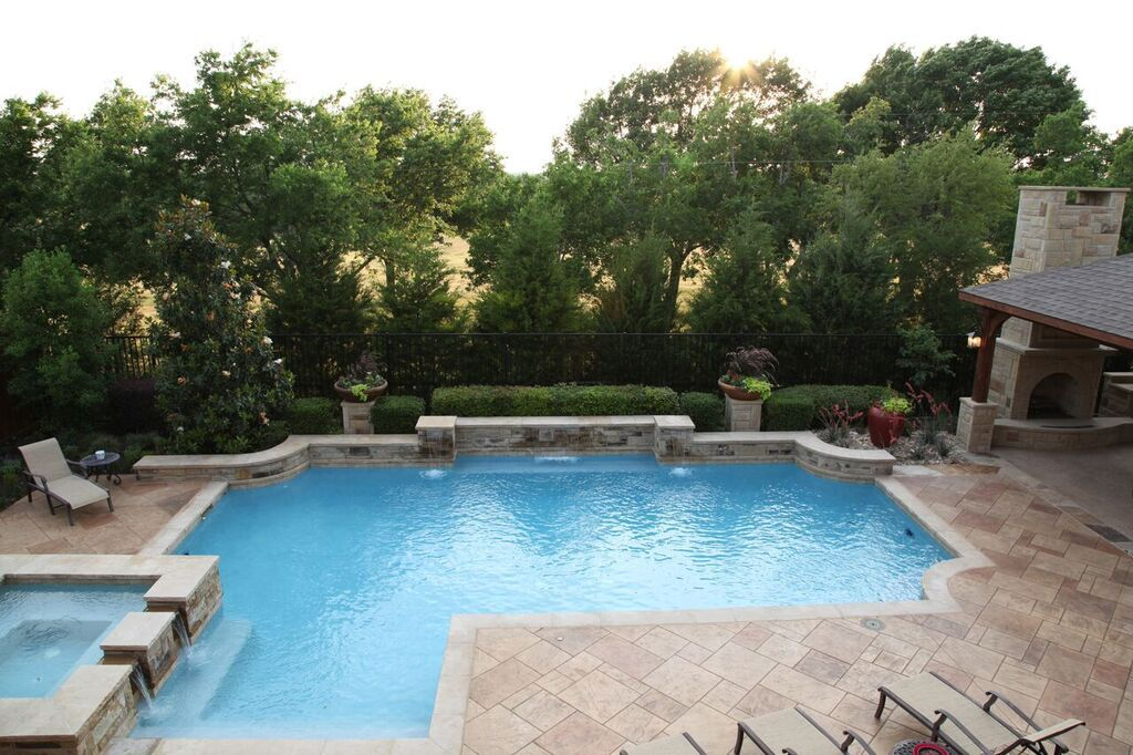 Classic Pool Design, Elegant Rounded Corners Using Cut Natural Stone  By Outdoor Signature In  Classic Pool Designs