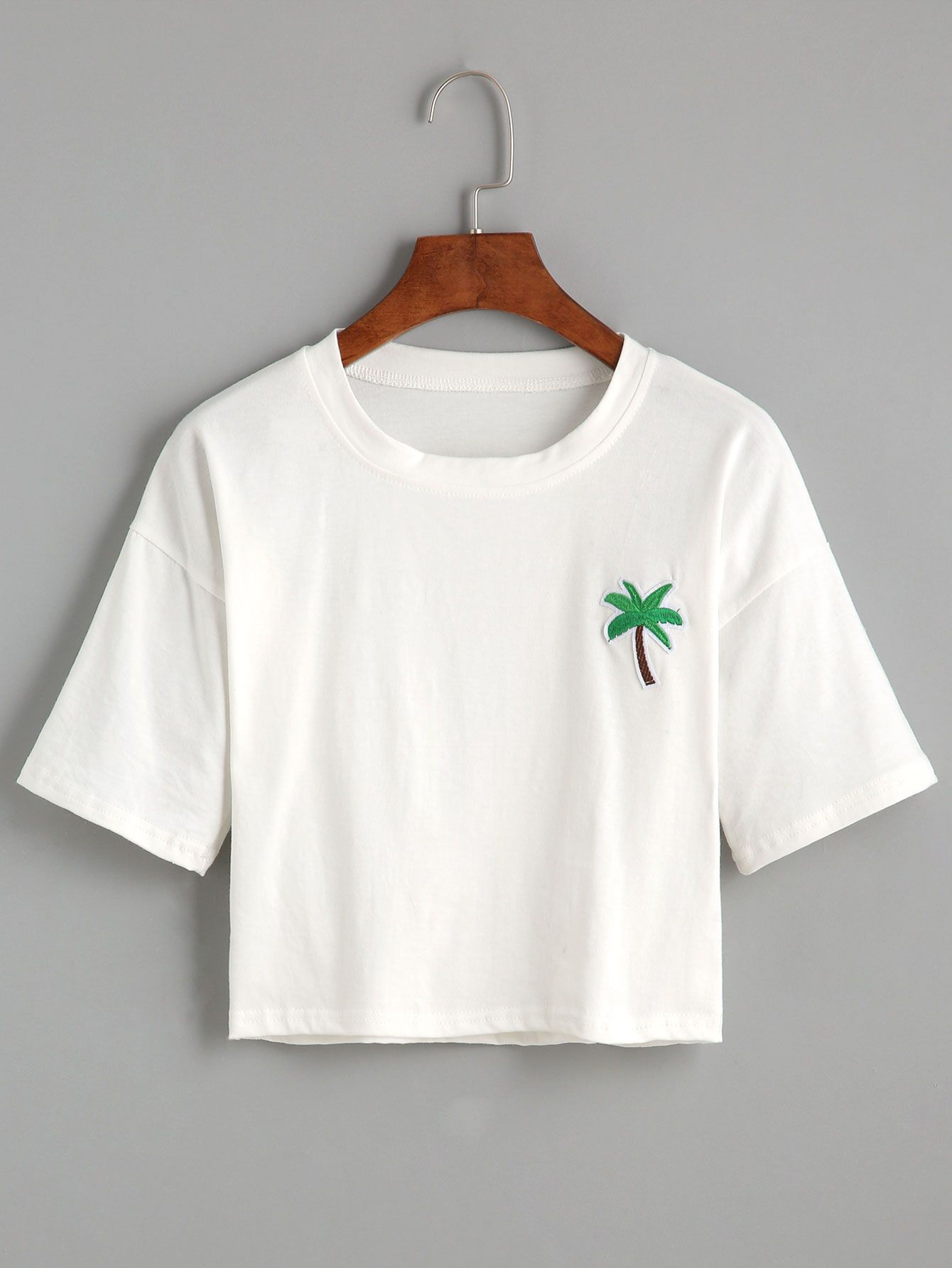6b68cf08008d White Palm Tree Embroidered Patch Crop T-shirt