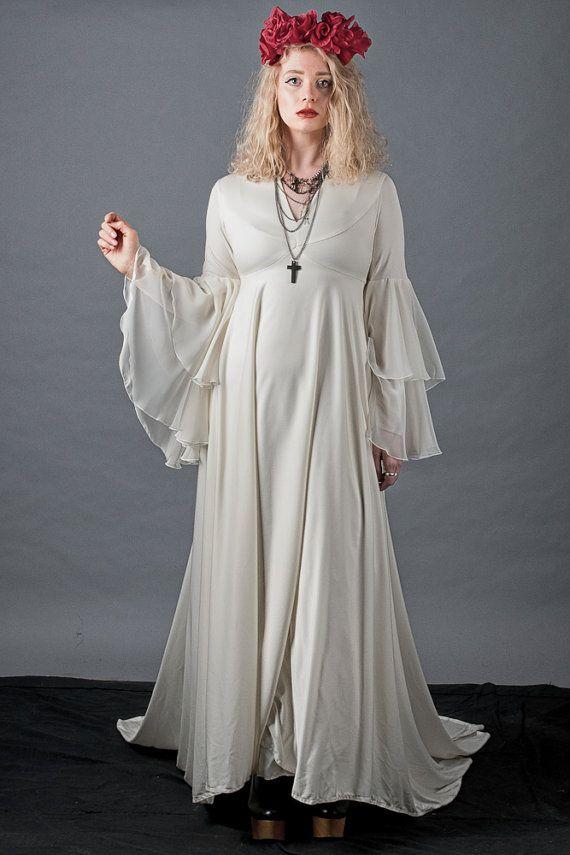 Rare 70s bell sleeve boho wedding dress long by for Bell sleeve wedding dress
