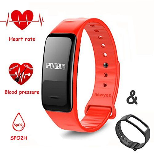 NEWYES Blood Pressure Smart Watch Fitness Tracker NBS04 Bracelet with SPO2H Heart rate monitor Sleep Management Pedometer with OLED Touch Screen for Android iOS SmartphoneBlackRed -- Find out more about the great product at the image link.