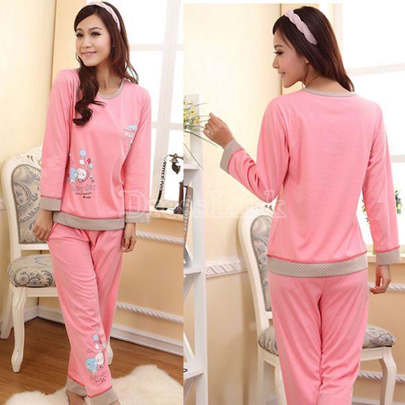Ladies Women s Cute Cartoon Balloon Pattern Long Sleeve Cotton Pajamas  Sleepwear Sleep Clothes 3b045c897