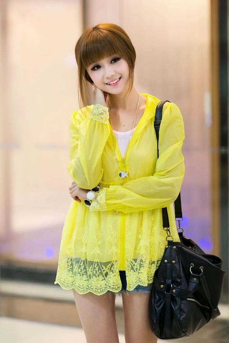 Summer Must Candy Colored Long Sleeved Hooded Jacket 2015 New Sun