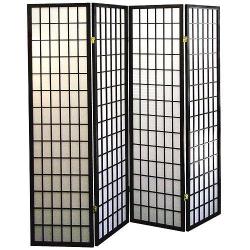 4 Panel Shoji Screen Room Divider Black 84 97 At Walmart Future