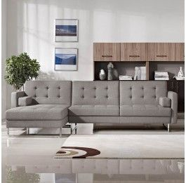 Gerald 3 Seater Sofa Bed - Right Chaise - Grey - 1600