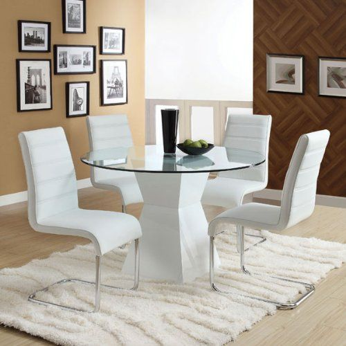 Sumiton White Finish 5 Piece Contemporary Style Glass Top Dining Set    Http:/