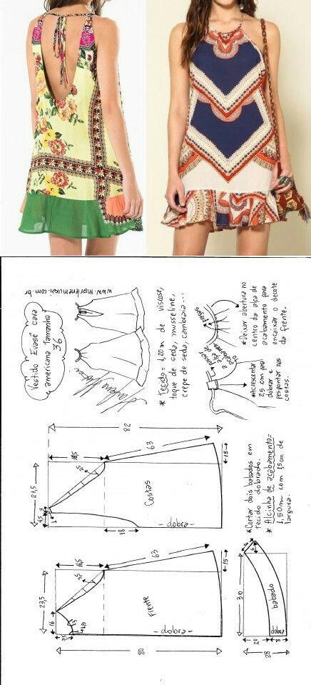 vestido | Manualidades | Pinterest | Nähen, Schnittmuster und ...