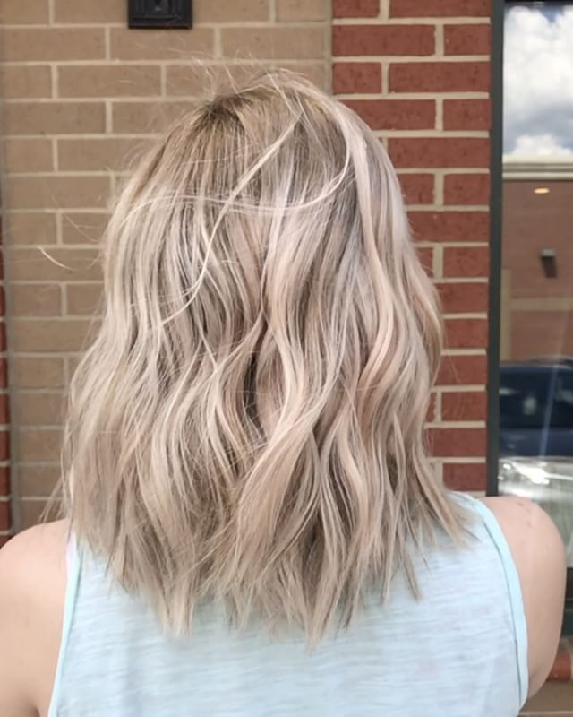 Wind Blown Rooty Champagne Blonde Balayage Champagne Hair Color