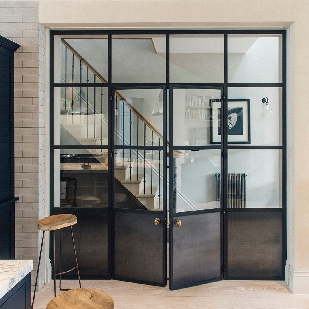 Plain English Design On Instagram From One Space To The Next Metal Screens Allow A Clear View Through In 2020 Internal Glass Doors Internal Doors Garage Door Styles