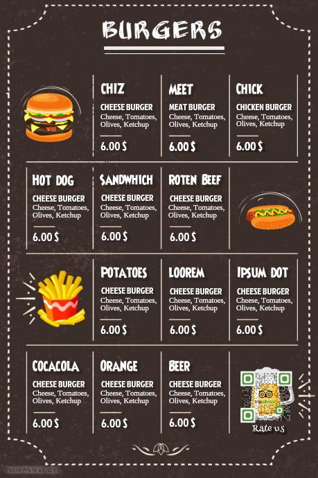 Restaurant burger menu http\/\/wwwpostermywall\/indexphp - sample drink menu template