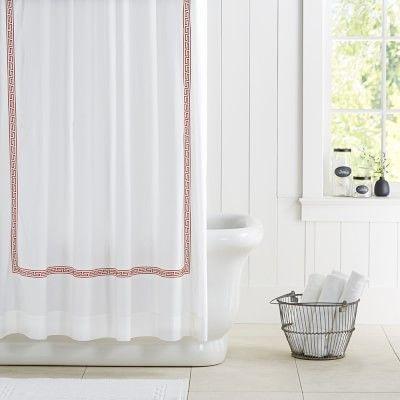 Greek Key Shower Curtain #williamssonoma- 1st floor bath.