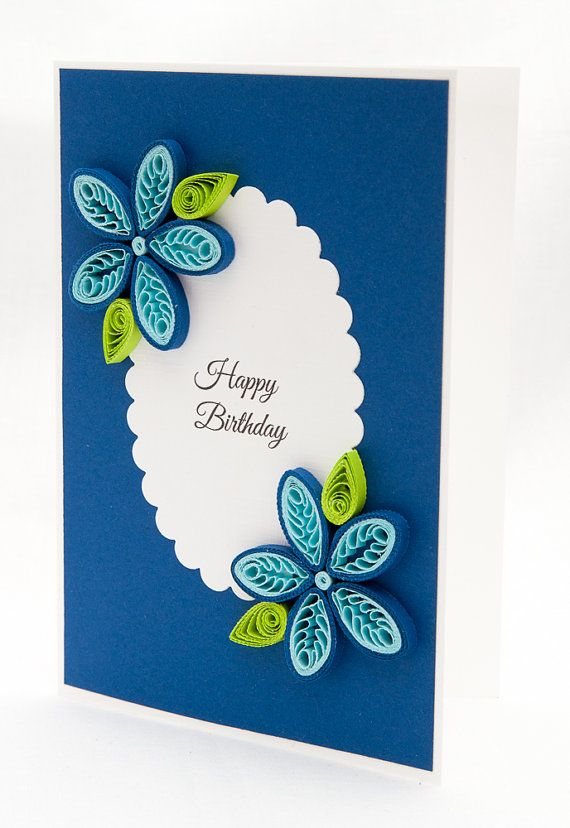 Elegant Birthday Card Quilling Handmade by PaperParadisePL fitness