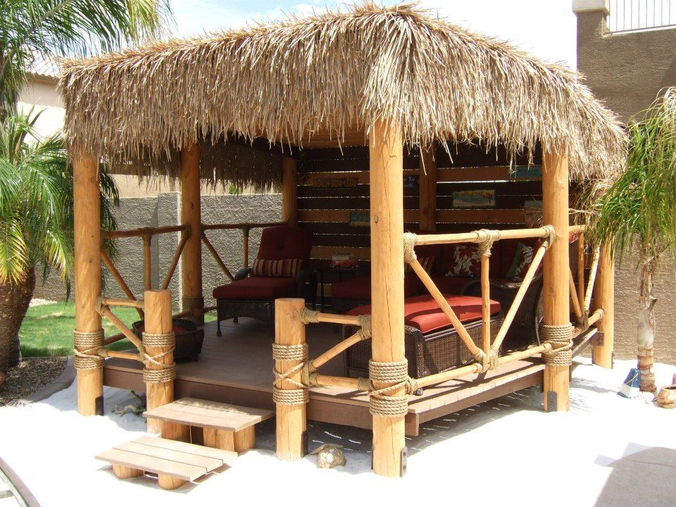 Our very own beach hut palapa my backyard paradise for Beach hut designs