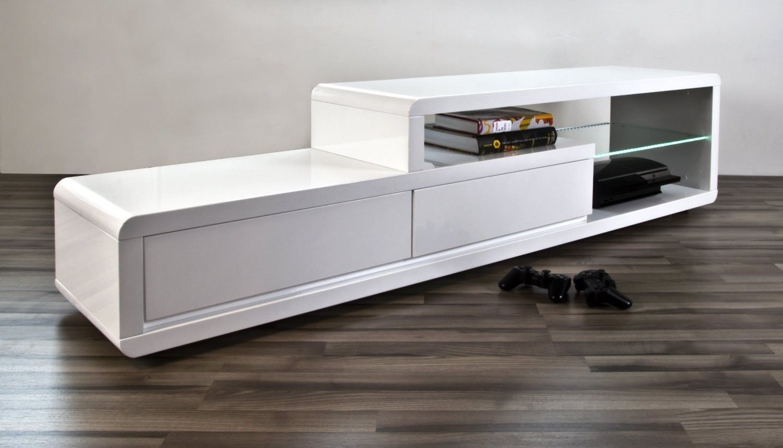 Meuble Tv Design Alice Ii Laqu Blanc Led Bleu 180 Cm Maisons # Meuble Tv Cocooning