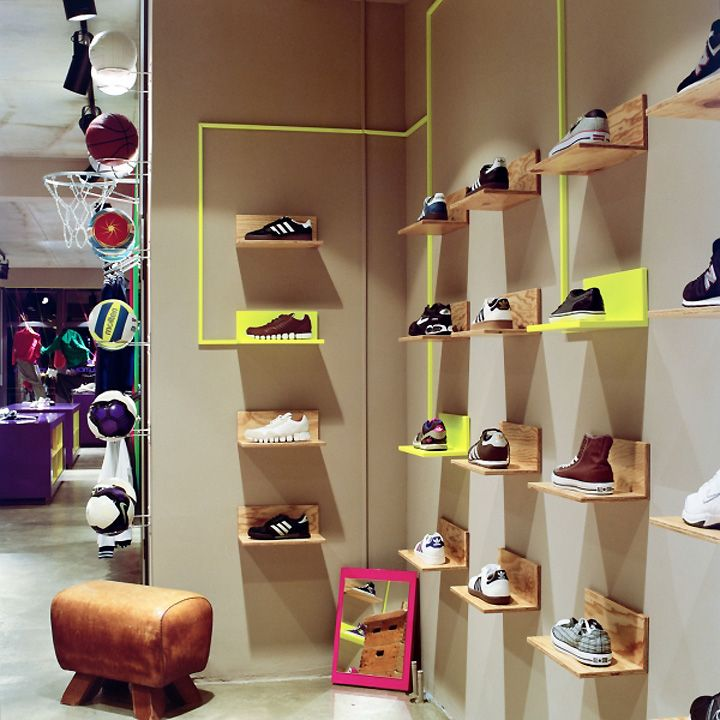 Simple shelving idea from Volution Sports store