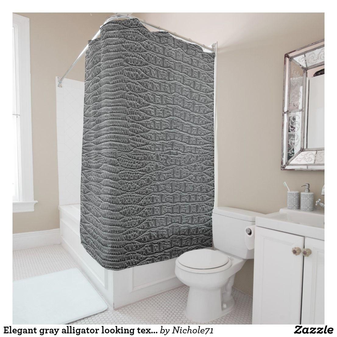 Elegant Gray Alligator Looking Texture Shower Curtain Zazzle Com