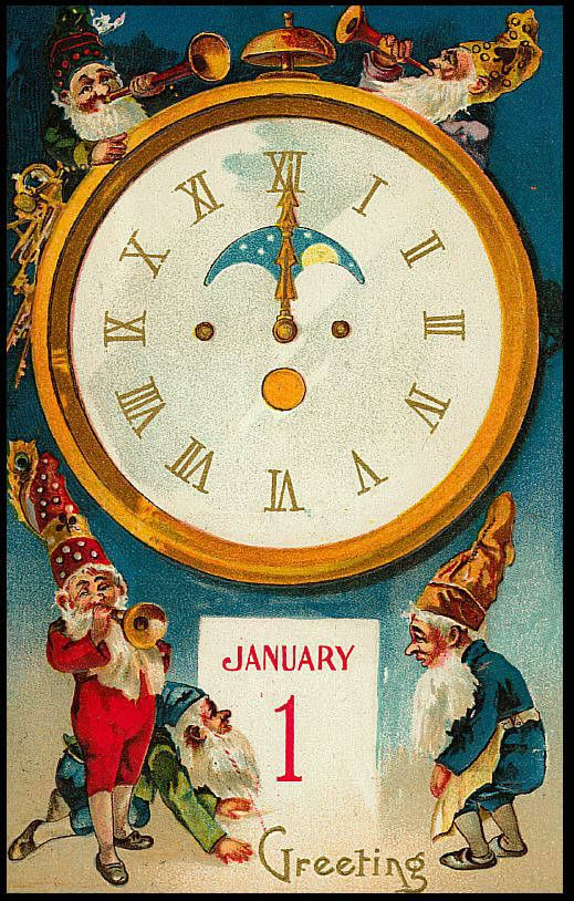 Public Domain clip art of a Vintage New Year Elf Card