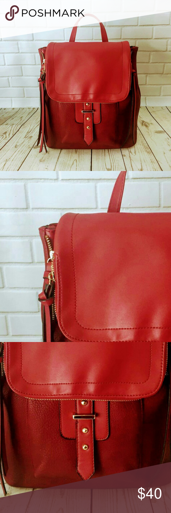 Nwt Isabelle Vegan Leather Backpack Red With Adjule Straps Bags Backpacks