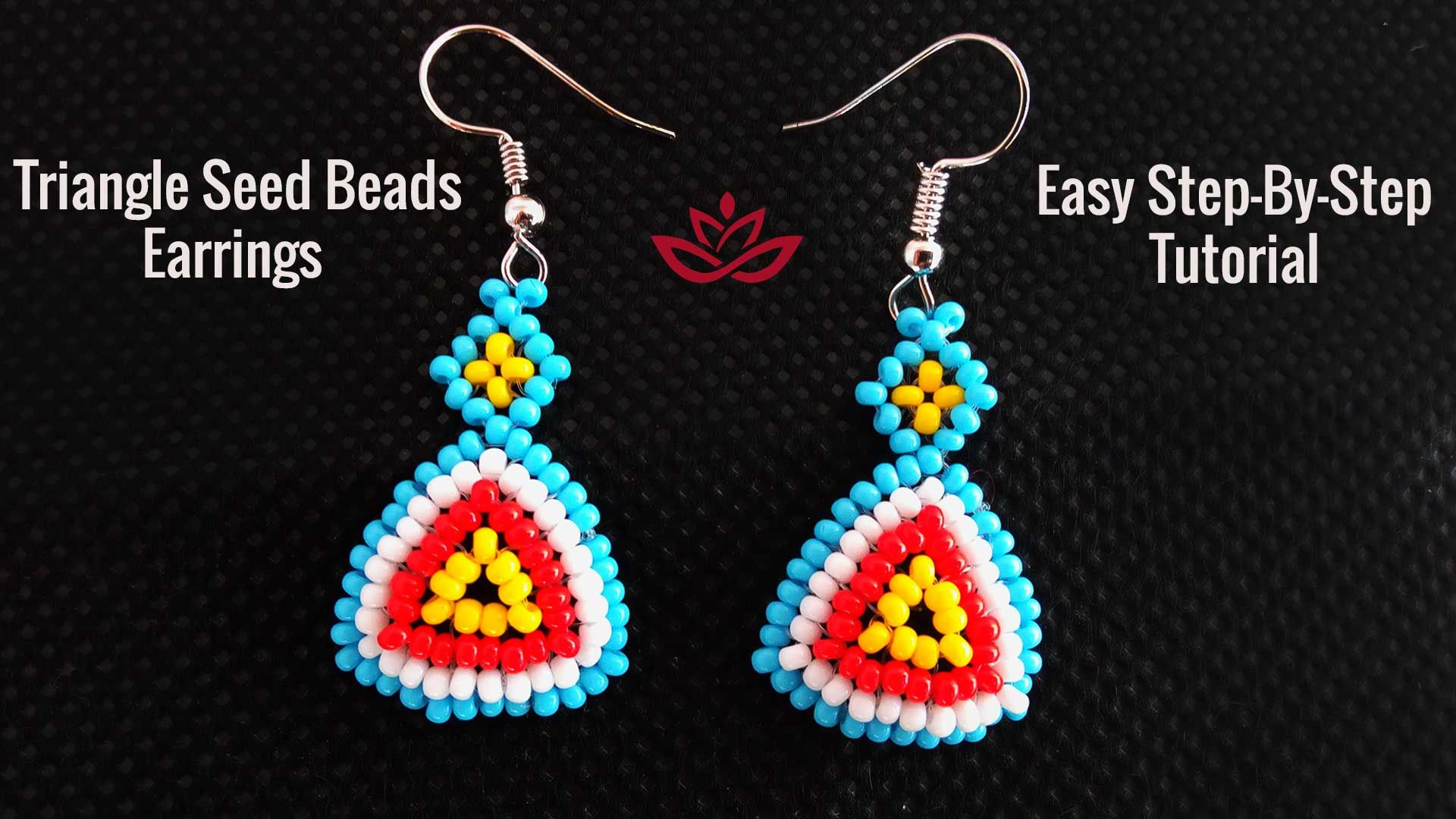 Triangle Seed Beads Earrings Tutorial How To Make Diy Seed Beads Earrings Seed Bead Tutorial Earring Tutorial Beading Tutorials