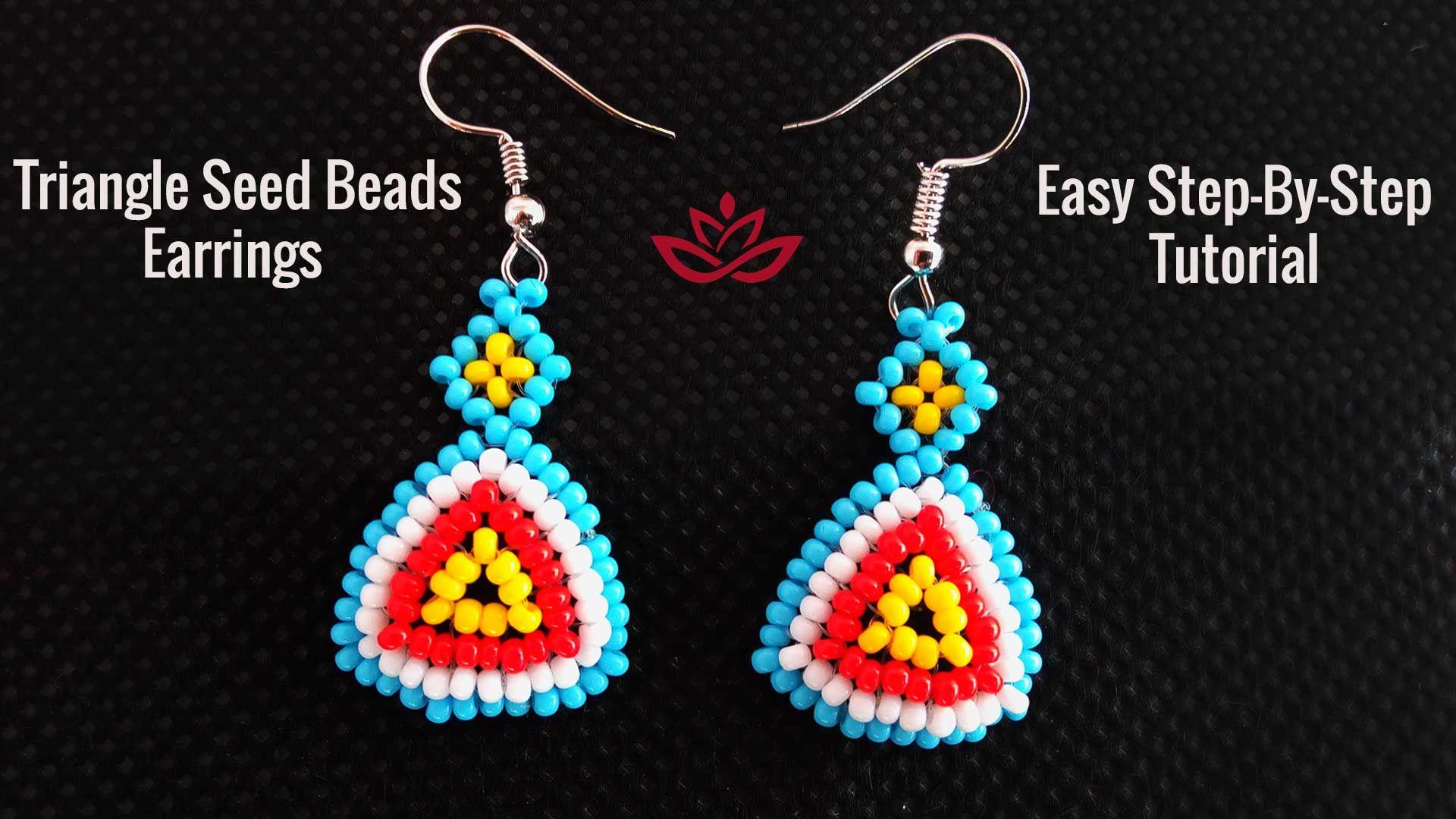 Triangle Seed Beads Earrings Tutorial How To Make Diy Seed