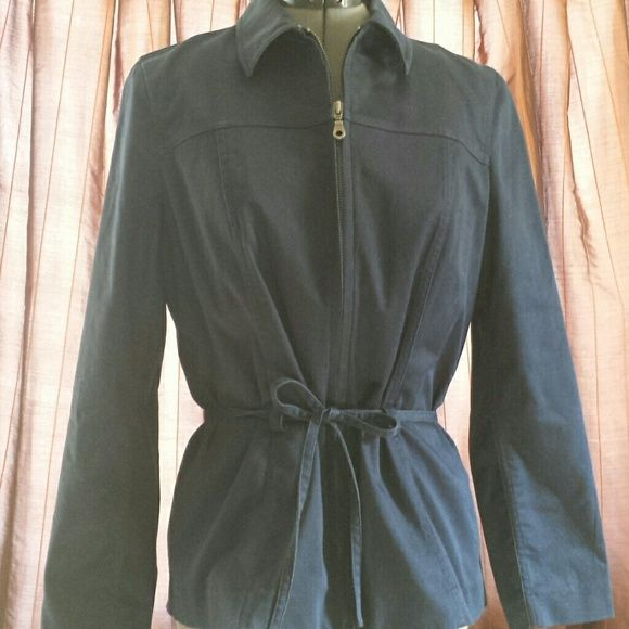 Eddie Bauer Blue stretch denim type fabric. Zipper and tie on front. Eddie Bauer Jackets & Coats
