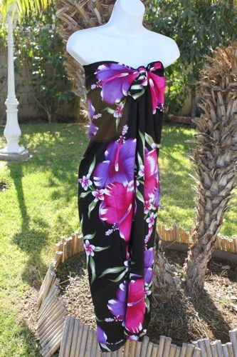 22ea348df9 Plus Size Black with Magenta and Purple Hibiscus Hawaiian Swimsuit Beach  Cover up Swim wrap Dress | IslandCraftwork - Cl