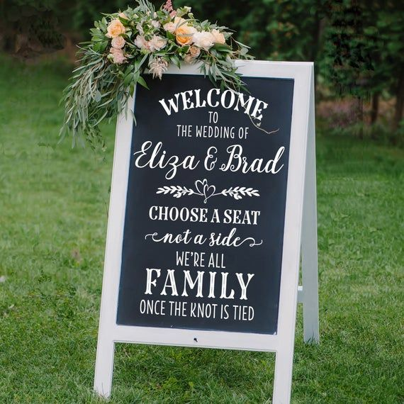Welcome to the Wedding of DIY Wedding Sign Decal | Chalkboard Sign Decal | Sticker for Wedding Seati