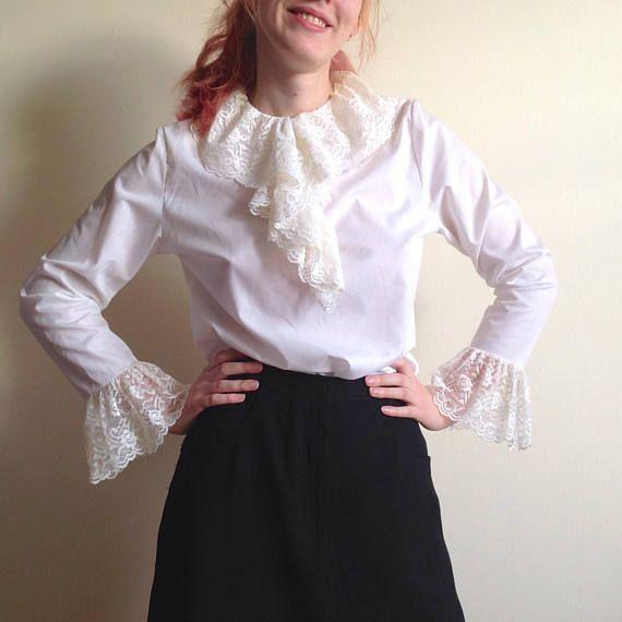 for neck w Lace #5089 ruffle Vintage 30s White Cotton Jabot