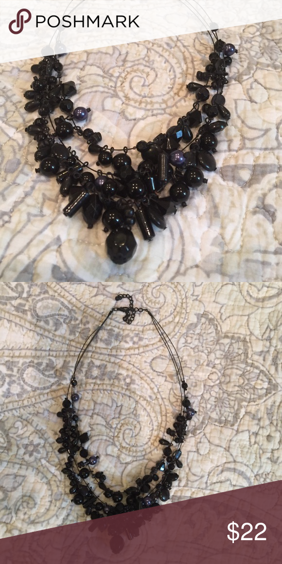 "Black beaded necklace Three wire strands of different shapes and sizes beads. @16-20"". Jewelry Necklaces"