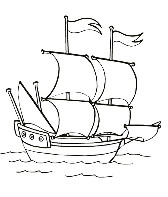 ship sailing in the sea slowly coloring page