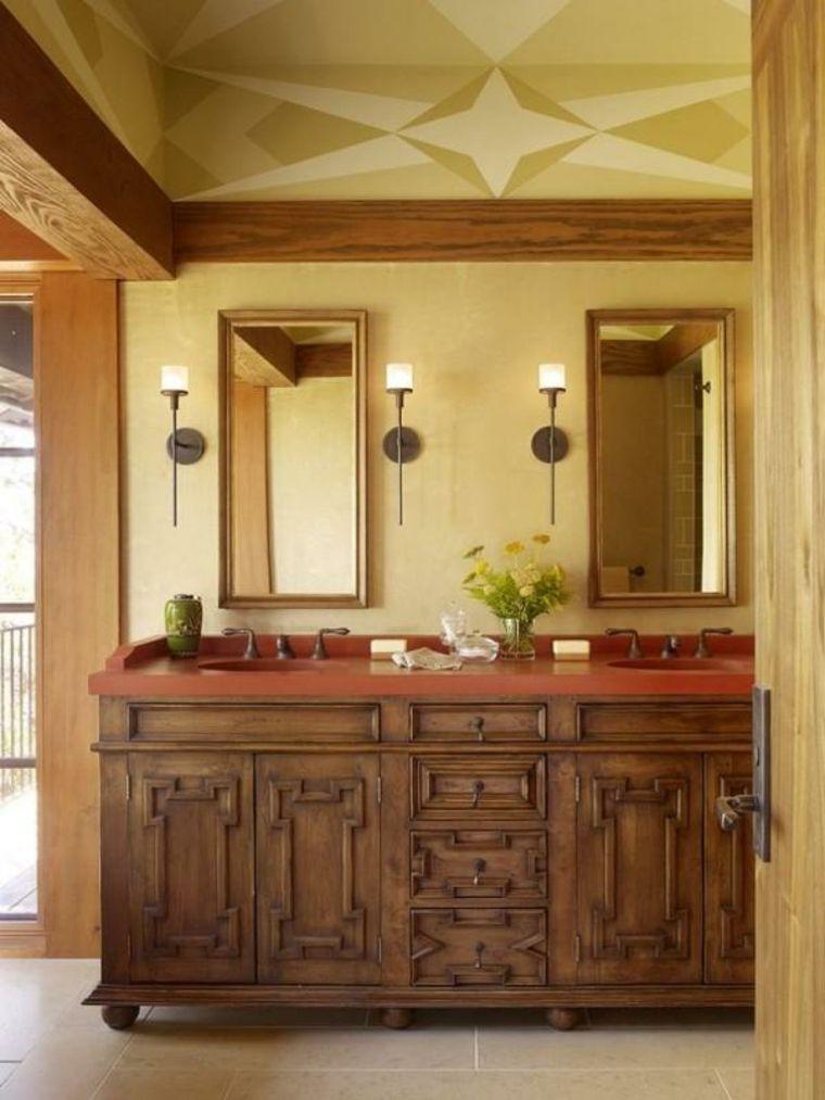 lavabos rústicos banos encimeras rojas ideas Interiores para baños - lavabos rusticos