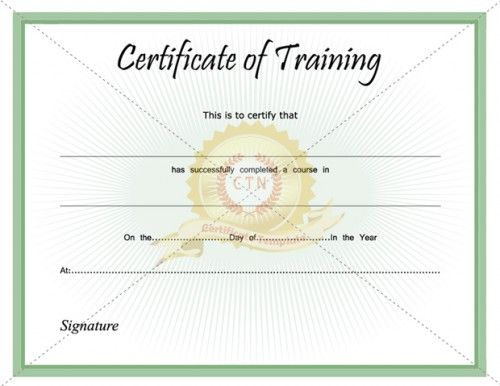 training certification template