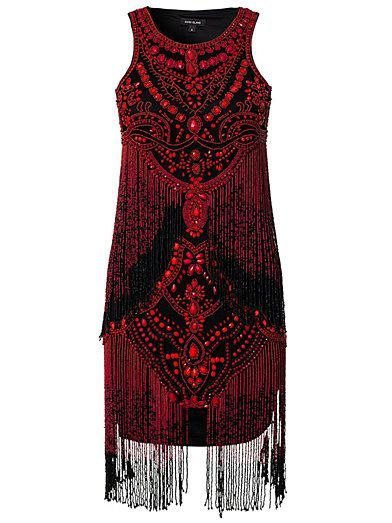 Red beaded fringe shift dress