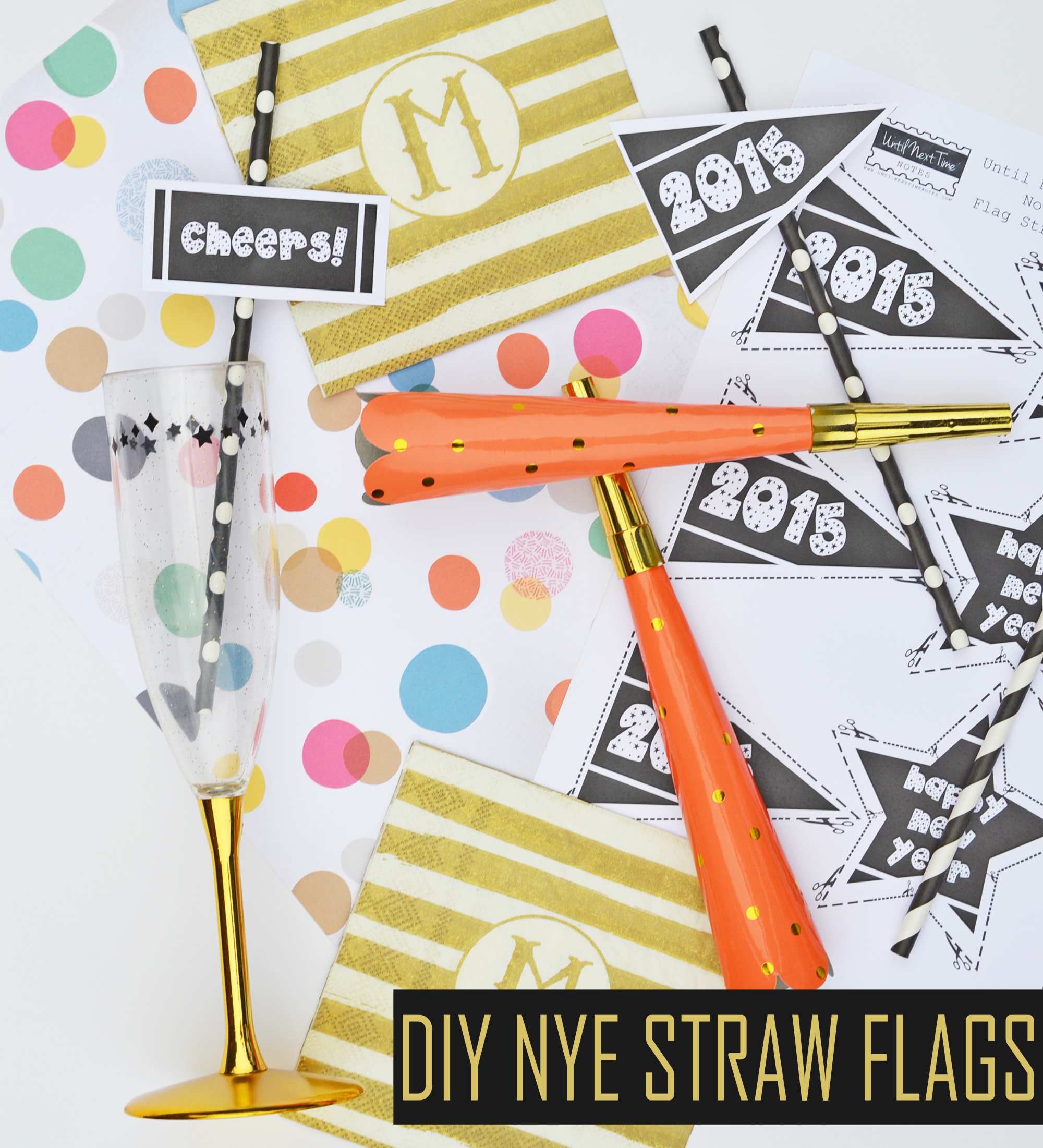 Diy Free Printable New Years Eve Straw Flags
