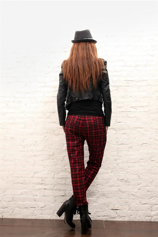 fashion plaid pants, black bik bok blazer ruby red grunge plaid ...