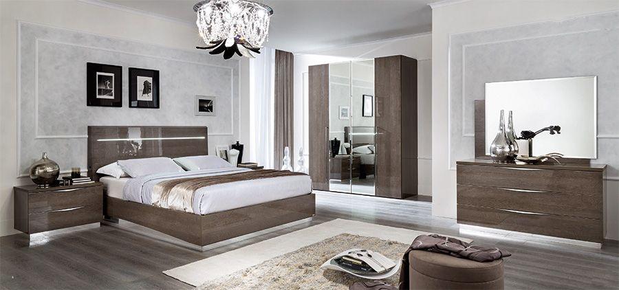 High Gloss Contemporary Bedroom Furniture Set Silver Birch